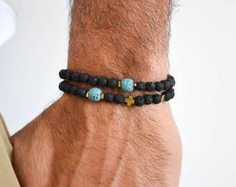 Lava Beads Men's Bracelets, Gold Cross Bracelet Men, Black Lava Beads Bracelet, Men's Jewelry, Gift for Him, Made in Greece.