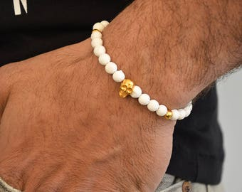 White Bracelet, Men's White Bracelet, Men's Bracelet, Skull Bracelet, White Beaded Bracelet, Men's Jewelry, Made in Greece.
