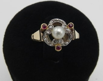 Ring antique pearl diamond and Ruby Antique Pearl Ring Diamond and Ruby
