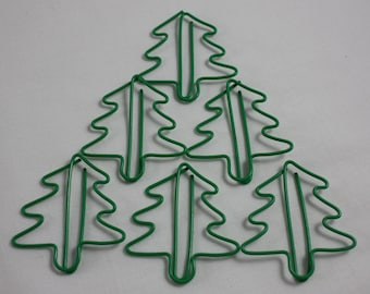 Planner Clips Christmas Trees Shaped Paper Clips Book Marks Page Marker Green Set Of 6