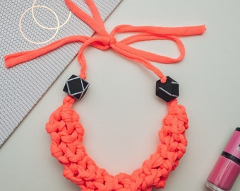 Deborah hot pink knitted statement necklace with geometric wooden beads, fluorescent pink fabric necklace, bib necklace