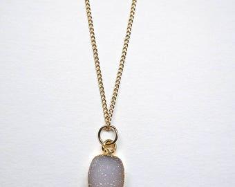Natural Druzy Quartz Pendant Necklace