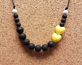 Mom Jewelry, Sensory Necklace, Heart Necklace, Black and Yellow, Teething Necklace, Nursing Necklace, Silicone Jewelry, Christmas Gift, Mom