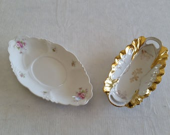 2 antique oval porcelain trays / double handles pink roses gold gilt relish dish candy nuts vintage fine china kitchen serving platters bowl