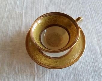 antique bavaria tirschenreuth pt german porcelain demitasse teacup & saucer set 1940 's- footed loop handle vintage numbered 943/0 u s zone