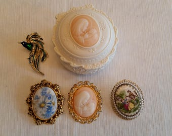 vintage brooch and pendant pins collection with matching mother and child trinket box - oval jewelry cameo style gold filigree beads madonna