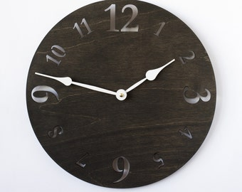 Large wall clock, Wooden wall clock, Wood clock, Wall clock, Modern large clock, Kitchen clock, Rustic clock