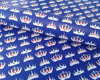Crown wrapping paper sheets, blue, king for a day, La Corona del Rey, gift wrap, 29x20 inches each, shipped rolled in tube