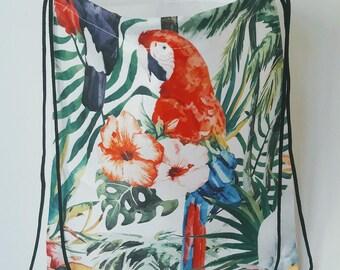 Hit Bag Perroquet | sac à dos avec lanières | 33 x 40 cm | Summer 2017 | sac de plage | Cabas imprimé recto | vacances, sport, ville