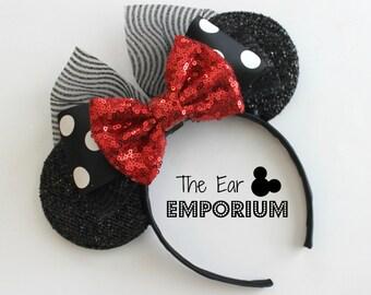 Minnie Mouse Ears Headband ~ Black and White Polka Dot