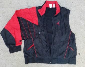 RARE Vintage 90s Michael Jordan Nike Flight Windbreaker Jacket | Detachable Sleeves into Vest | Retro | TUFF