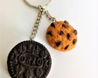 Cookies key chain oreo fake food mini chocolate sweet candy sugar chips and cookies