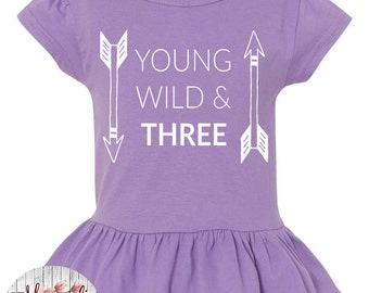 Young Wild And Three, Arrow, 3rd Birthday, Toddler, Little Girls Ruffle Tee in 5 Colors in Sizes 2T-Girls Large