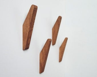 Oak Wood Wall Hooks / SET of 4 or 6 / Coat Hook / Wall Mounted / Hanger for Clothes and Towels / GATIS / Made by DABA