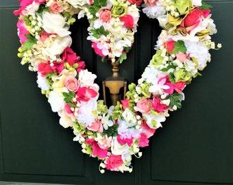 Heart Floral Wreath, Valentine Wreath, Door Wreath, Wedding Wreath, Wedding Decor, Heart Wreath, Front Door Floral Wreath, Wall Heart Wreath