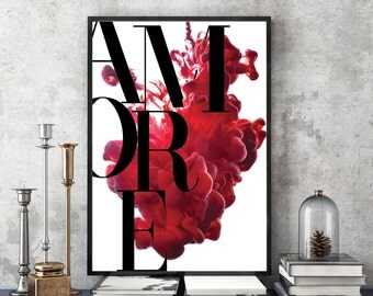 Amore Print, Romantic Print, Typography Art,Bedroom Print, Love Print, Italian Black and White Print, Italian Poster, Red Art, Minimalist,