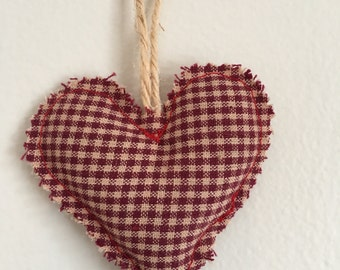 Vermont balsam sachet, heart shaped balsam scent drawer freshener, red cream plaid home decor