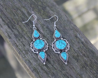 Handmade Tibetan earrings Boho earrings Gyspy earrings Turquoise earrings Tribal earrings Tibetan jewellery Gift for her Mothers day gift
