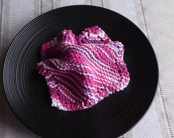 Pink dish cloths, 100% Cotton Knit Dish Cloths,  Cotton Bath cloths, buy 6 get 7