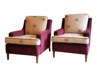 Vintage Club Pair   Upholstered Armchairs