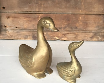 Vintage Brass Ducks, Set of 2, Brass Goose, Geese, Duck Figurine, Cottage Decor, Farmhouse Decor, Home Decor, Rustic Decor, Garden Decor