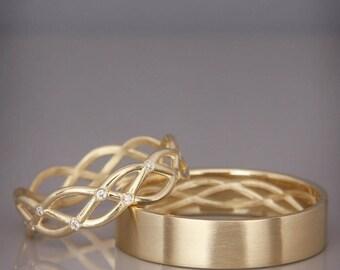 14K Gold Eternity Wedding Rings set with Diamonds  Handmade 14k gold eternity wedding Rings   His and Hers Wedding Bands Set