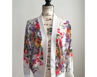Vintage Floral Cardigan, Vintage Floral Sweater, 80s Cardigan, Spring Cardigan, Summer Cardigan, Spring Floral Sweater