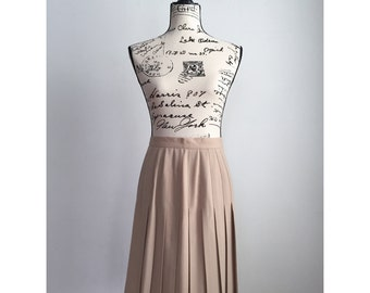 Vintage Pleated Skirt, 1970s Pleated Skirt, Neutral Knee Length Skirt