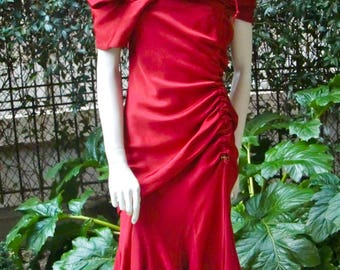 JOHN GALLIANO 1990 Cherry Red Satin Party Dress