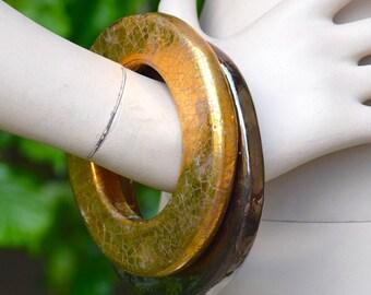 LANVIN 1990 Gold or Gun Barrel Ceramic Bangles