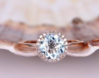 Rose Gold Aquamarine Engagement Ring 7mm Round Cut Natural Blue Aquamarine 14k Rose Gold Stacking Plan Gold Band Stacking Ring Custom Ring