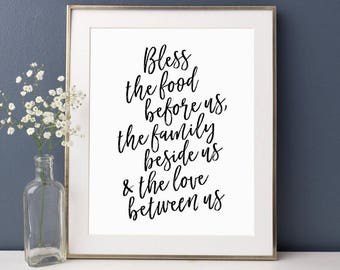 Kitchen Wall Decor, Bless the food before us, Dining Room Signs, Kitchen Sign, Bless This Food, Wall Prayer Sign, Kitchen Quote, Kitchen Art