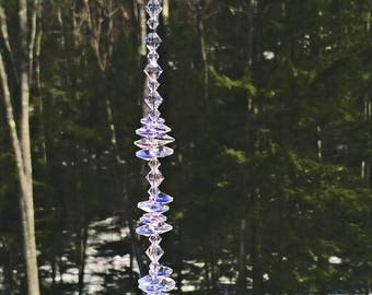 "Faith 30 mm Crystal Ball Suncatcher,Swarovski Crystal, Window Suncatcher, Rainbow, Hanging Crystal, Feng Shui, Crystal Decor, ""Faith"""