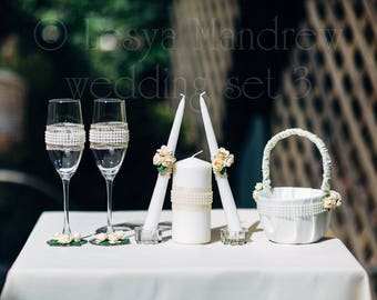 Handmade Wedding set, Wedding Champagne Glasses, Wedding Candles, Wedding Basket