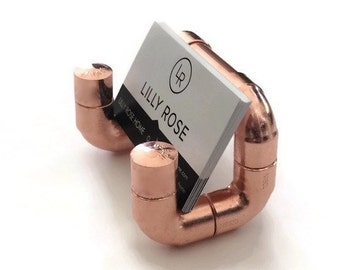 Industrial Copper Pipe Copper Business Card Holder