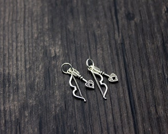 2pcs Sterling Silver Cupid's Arrow Charm, Bow and Arrow Charm , Heart Arrow Charm, Love's Arrow,Arrow Pendant