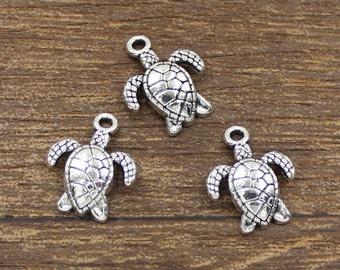 30pcs Turtle Charm Antique Silver Tone 12x17mm - SH196