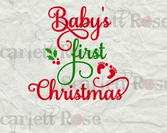 Baby's First Christmas 2016 SVG cutting file clipart in svg, jpeg, eps and dxf format for Cricut & Silhouette - Instant Download
