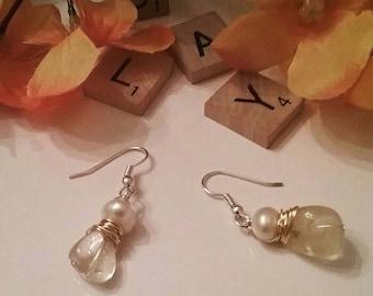 Citrine freshwater pearl dangle earrings, Citrine earrings,  freshwater pearl earrings, wire wrapped gemstone earrings, gifts for her