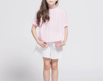 Kid blouse striped short-sleeved