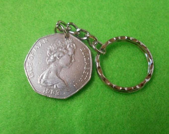 Isle of Man  50 Pence coin  1983  -  attached to a keychain