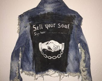 Hand Painted / Distressed / Ripped / Acid Washed Denim Jacket