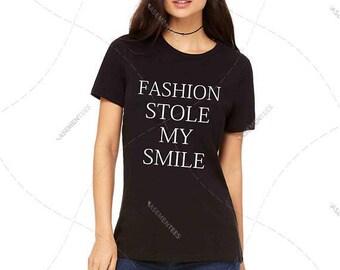 "Womens - Girls - Premium T-Shirt ""Fashion Stole My Smile"" Fashion Fit Tee, Bella + Canvas Los Angeles"