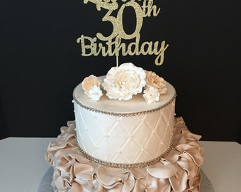 ANY NAME & NUMBER Gold Glitter 30th Birthday Cake Topper, 30 and Fabulous Birthday, Customized Birthday Topper