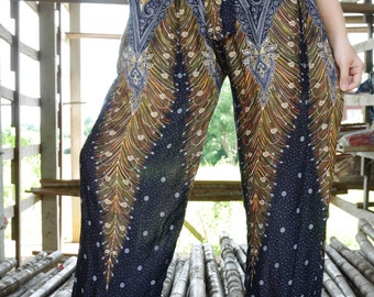 Thai fabric Thai pants Elephant Thai fisherman pants Harem pants Wide leg pants Palazzo pants Yoga pants women