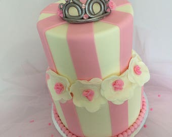 2 Tier Fake Cake Covered With Real Fondant