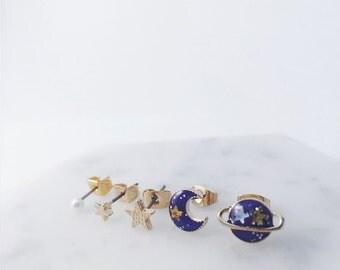 Saturn x Moon mix and match set; Saturn earrings; Moon earrings; moon studs; Saturn studs