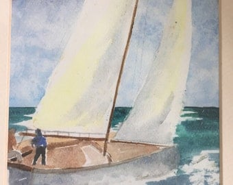 sailboat watercolor print