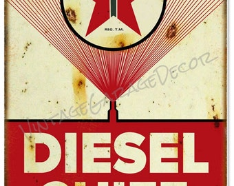 Reproduction Texaco Diesel Chief Gasoline Metal Sign (Rusted)