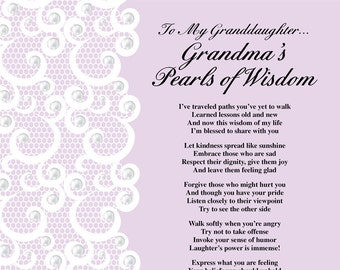 Grandma's Pearls of Wisdom Poem Printable